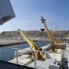 View on deck from bridge of mv Hellas Reefer
